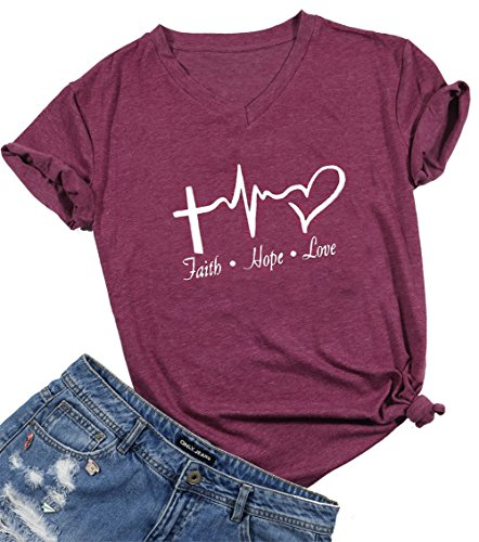 - Faith Hope Love Christian T-Shirt Women Casual Letter Printed Short Sleeve Tops Tee Size M (Burgundy)