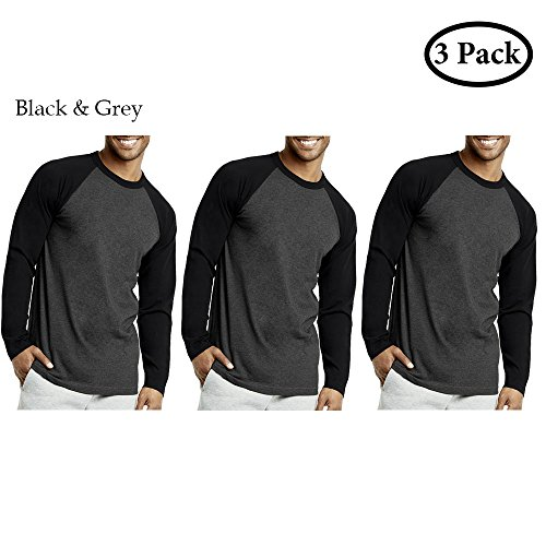 Unibasic Men Classic Raglan Cut Long Sleeve Two Tone Baseball Tee - 3 Pack Edition (Black and Grey, - Long Raglan Sleeve Tee