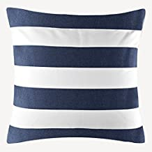 "Taoson Decorative Cotton Canvas Square Navy Blue Stripe Toss Pillowcase Cushion Cover Pillow Case with Hidden Zipper Closure Only Cover No Insert - 25""x25""(65x65cm)"