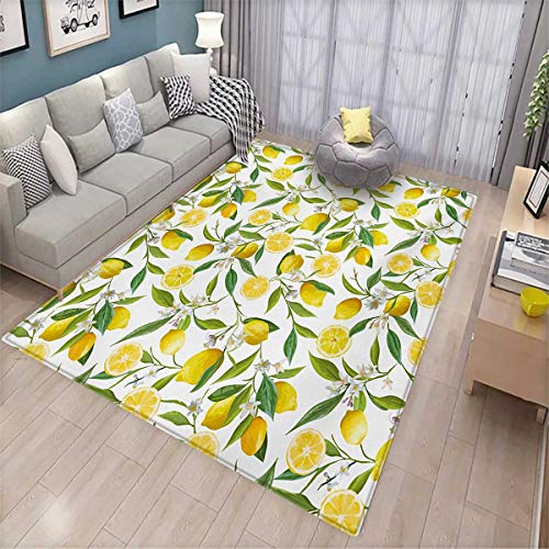 "Nature Girls Bedroom Rug Exotic Lemon Tree Branches Yummy Delicious Kitchen Gardening Design Bath Mats for Floors 6'6"" x8' Fern Green Yellow White"