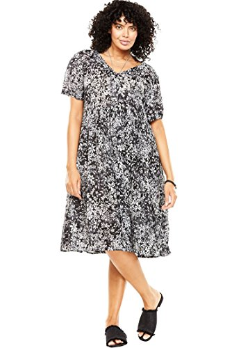 Woman Within Plus Size Short Button-Front Crinkle Dress - Dark Charcoal Shadow Floral, 16 W