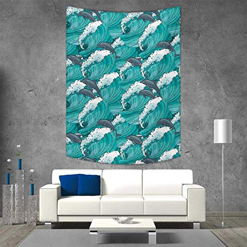 smallbeefly Sea Animals Tapestry Table Cover Bedspread Beach