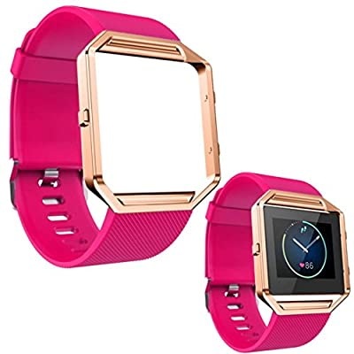 For Fitbit Blaze, Lucoo® Soft Silicone Watch Band Replacement Wrist Strap with Rose Gold Metal Frame Case for Fitbit Blaze Smart Watch
