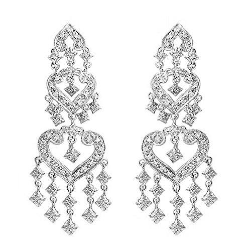 Diamond Chandelier Earrings in 14k White Gold (1.01ctw) (14k Diamond Chandelier Earrings)