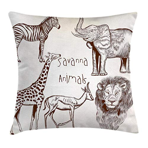 Ambesonne Safari Throw Pillow Cushion Cover, Composition of Tropic African Asia Wild Savannah Animals Lion Giraffe Zebra Graphic, Decorative Square Accent Pillow Case, 28 X 28 Inches, Cream Brown