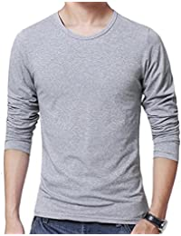 OULIU Mens Casual Solid Color Crew Neck Long Sleeve Tee