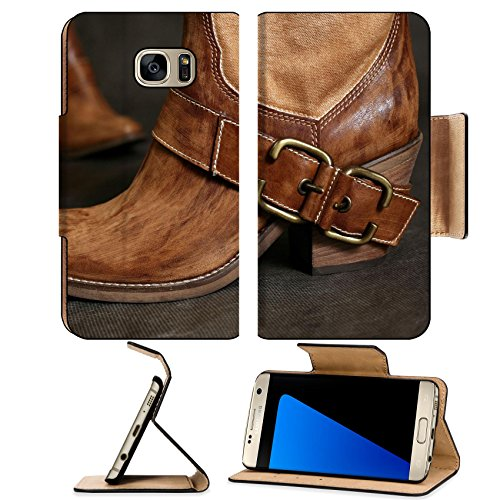Luxlady Premium Samsung Galaxy S7 EDGE Flip Pu Leather Wallet Case IMAGE ID 2515205 Female boots of the cowboy close up on a dark background ()