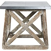 Burnham Home 17223 Martin Side Table, Natural, Zinc Top