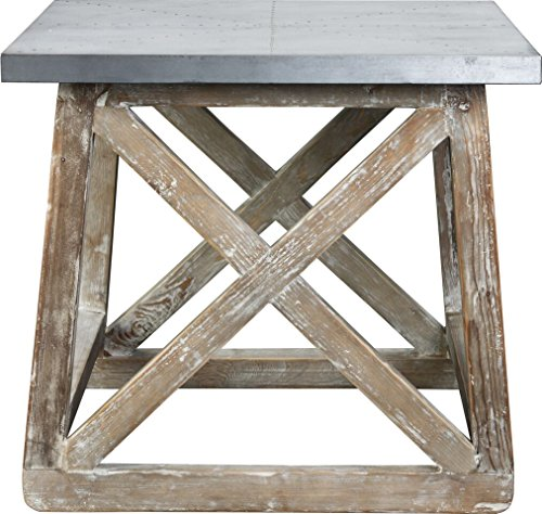Burnham Home 17223 Martin Side Table, Natural, Zinc Top - Beam Coffee Table