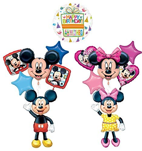 The Ultimate Mickey and Minnie Mouse Airwalker Birthday Party Supplies and 13pc Balloon Bouquet Decorations -