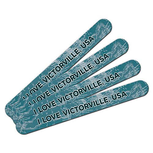 Double-Sided Nail File Emery Board Set 4 Pack I Love Heart City Country T-V - Victorville USA (City Of Victorville)