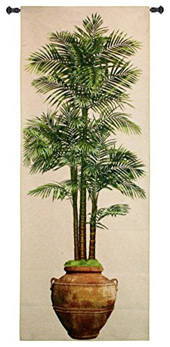 Potted Palm Ii by Julianna James - Woven Tapestry Wall Art Hanging - Realistic Potted Palm Terra Cotta Urn Vase Nature Floral Themed Artwork - 100% Cotton - USA 79X31