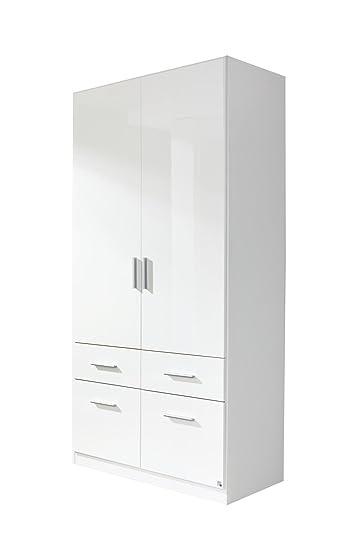 Kleiderschrank weiß hochglanz 2 türig  Rauch Kleiderschrank Weiß Hochglanz 2-türig mit 4 Schubladen ...