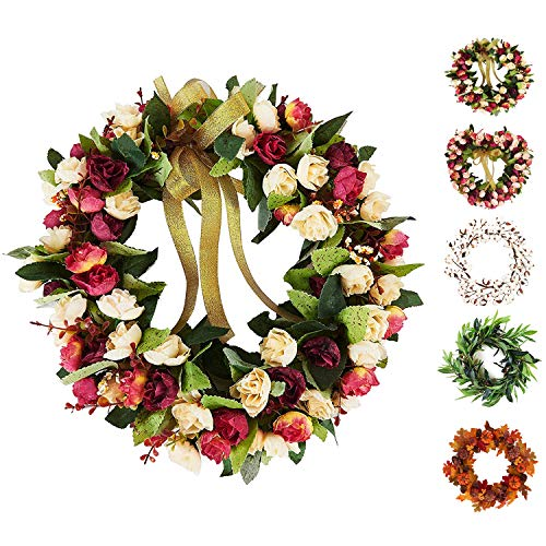 Baigio Woman 14inch Flower Wreath Handmade Artificial Floral Silk Wreath for Front Door Home Wall Wedding ()
