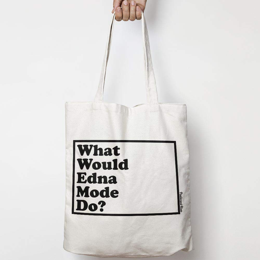 WWYD natural canvas tote bag CHOICE OF NATURAL OR BLACK THE INCREDIBLES WHAT WOULD EDNA MODE DO