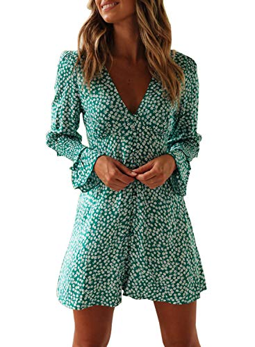 - FIYOTE Women Loose Long Sleeve Shift Dresses Floral Print Ruffle Swing A Line Beach Mini Dress Small Size Green