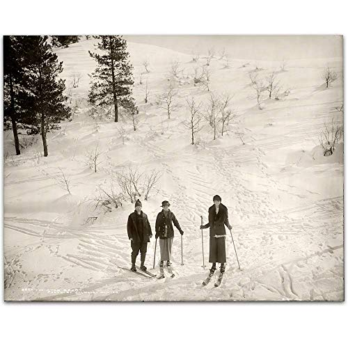 - Vintage Skiiers - 11x14 Unframed Art Print - Makes a Great Ski Lodges and Mountain Cabins Decor Under $15