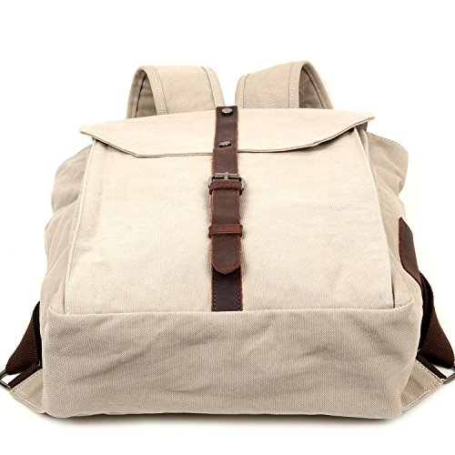 9a7d0c062155 TRAVEL LOG Nova Backpack Genuine Canvas and Leather Bag (Ivory ...