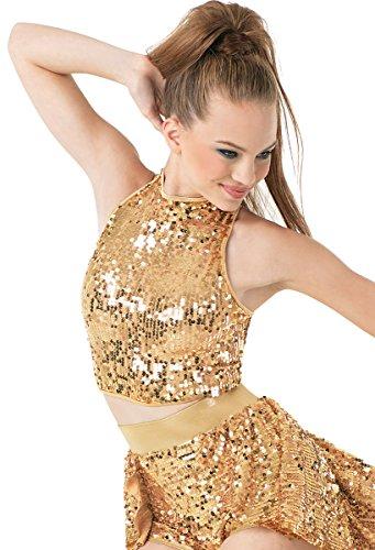 Balera Sequin Dance Crop Top Gold Adult ()
