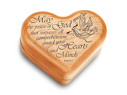 Music Box 3'' Heart - Phil. 4:7 - Amazing Grace by Heartwood Creations