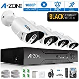A-ZONE Security 4 Channel 1920P NVR HD 1080P IP PoE Security Camera System with 4 Outdoor /Indoor 3.6mm Fixed lens 2.0 Megapixel 1080P Cameras, QR Code Easy Setup, Free Remote View- with 1TB HDD,White