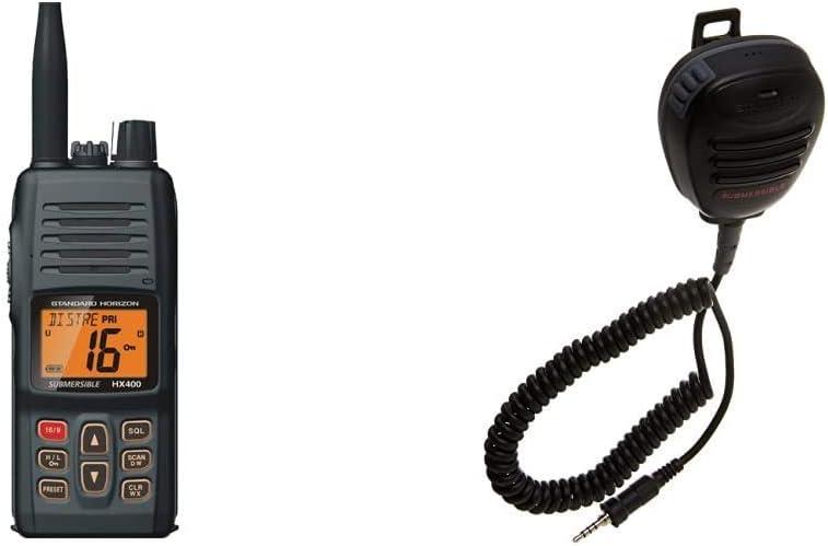 Standard Horizon HX400 W/SBR-29LI, Handheld VHF Marine Radio & Speaker/Mic for Most Standard Handheld VHF Radios