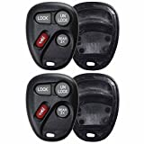 2 KeylessOption Replacement 4 Button Keyless Entry Remote Key Fob Shell Case and Button Pad Compatible with 15043458 15732805