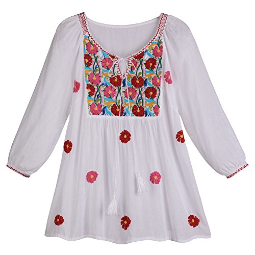 Women's Peasant Tunic Top - White Poppy Cascade Embroidered Shirt - 3X
