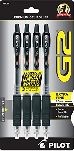 Pilot G2 Retractable Premium Gel Ink Roller Ball Pens Extra Fine Point 4-Pack Black Ink (31055)