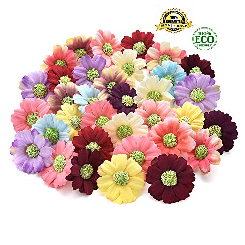 Silk Flowers in Bulk Wholesale Flower Silk Sunflower Artificial Flower Wedding Home Decorative DIY Flower Wall Scratchpad Gift Box Decorative Flower Fake Flower 100pcs 4cm (Multicolor)