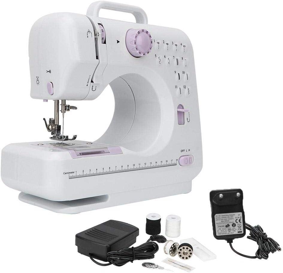Mini máquina de coser, máquina de coser eléctrica a medida para el hogar con 12 puntadas florales, una lámpara de coser, función de bobinado automático(Enchufe de la UE)