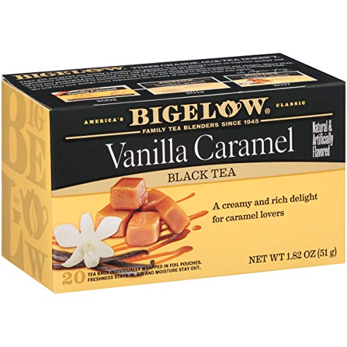 Bigelow Vanilla Caramel Black Tea Bags 20-Count Boxes (Pack of 6), 120 Tea Bags Total.  Caffeinated Individual Black Tea Bags, for Hot Tea or Iced Tea, Drink Plain or Sweetened with Honey or Sugar