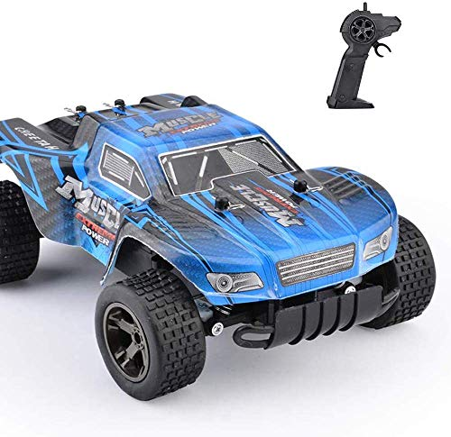 STOTOY RC Car 1/18 Scale 2WD, Rock Off-Road RC Truck 2.4GHz, Fast Racing Cars for Kids and Adults-Blue