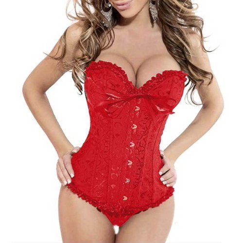 Sexy Brocade Stain Overbust Corset With Floral Pleated Trim Bustier Burlesque Basque Fancy Dress Costume Outfit With G-string (Red, Large) by Onda