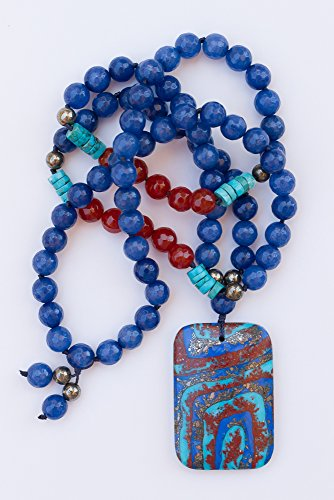Turquoise Pyrite Matrix Pendant Necklace with Blue Agate & Carnelian Beads -