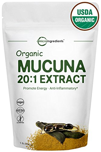 Maximum Strength Organic Mucuna Pruriens 20:1 Super Extract Powder,1 Pound, Powerfully Promotes Energy Endurance, Sexual Health and Restful Sleep. Non-GMO and Vegan Friendly