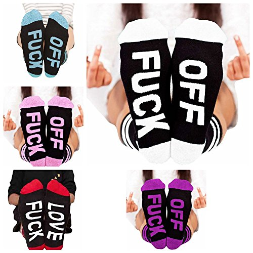 Socks Letter Print Fuck-off Pattern Casual Funny Sock Men Women Unisex by Fenta – DiZiSports Store