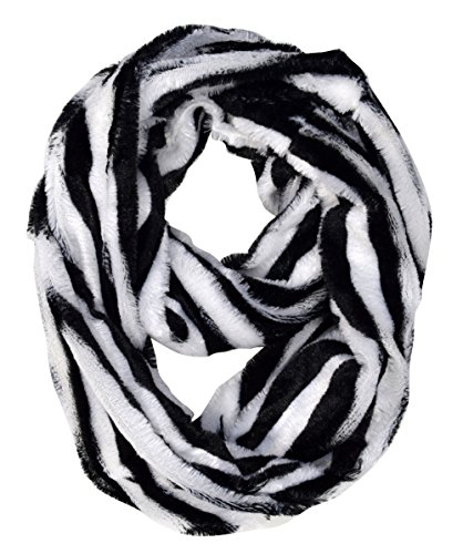 Peach Couture Faux fur Two Tone Plush Cowl Collar Infinity Loop Scarf Zebra White (Boots Print Zebra)