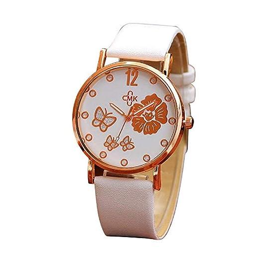 Clásicos Mujer Cuarzo Reloj,Scpink Elegante Y Mado con Flores Y PatrÓN de Mariposa Reloj