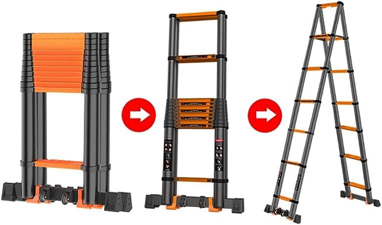 FF Escaleras Telescópicas Multifunción Escalera telescópica de Aluminio Multiusos, Escalera de extensión Alta compacta portátil Plegable para Office Loft Engineering DIY, Capacidad de 330 LB: Amazon.es: Hogar