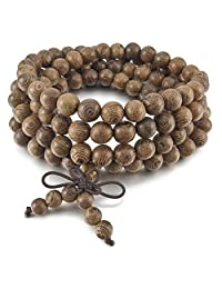 TEMEGO Jewelry Mens Womens Wood Bracelet, Vintage Tibetan Beads Buddhist Prayer Mala Necklace Chain, Light Brown