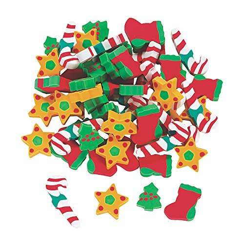 Holiday Erasers (60 Pcs) - Basic School Supplies & Erasers & Pencil Toppers