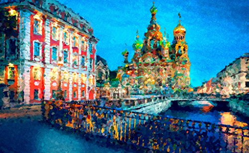 TINMI ARTS 5D DIY Diamond Painting by Number Kits for Adults Landscape Cross Stitch Rhinestone Embroidery Home Wall Decoration (Beautiful St. Petersburg,24