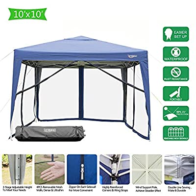 VINGLI EZ POP UP 10'x10'/ 10'x20' Outdoor Canopy Tent  Removable Mesh Sidewalls & Portable Rolling Carrying Bag,Camping/Travel/Patio/Gazebo, Sun & Water Resistant