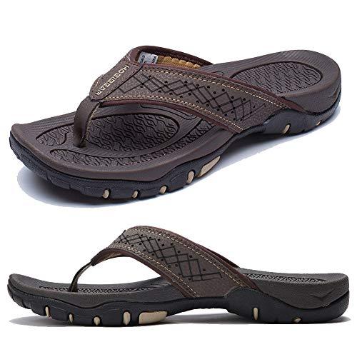 KIIU Flip Flops for Men Beach Sandals Outdoor Comfortable Slippers,Brown 39