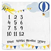Baby Monthly Milestone Age Blanket - Boy + Girl. Baby Shower Gift Idea! First Days, Weeks, Months, Years. Large Photo Prop for Newborn, Infant, Or Toddler. Mom & Dad Keepsake. (Adventure Woodland)