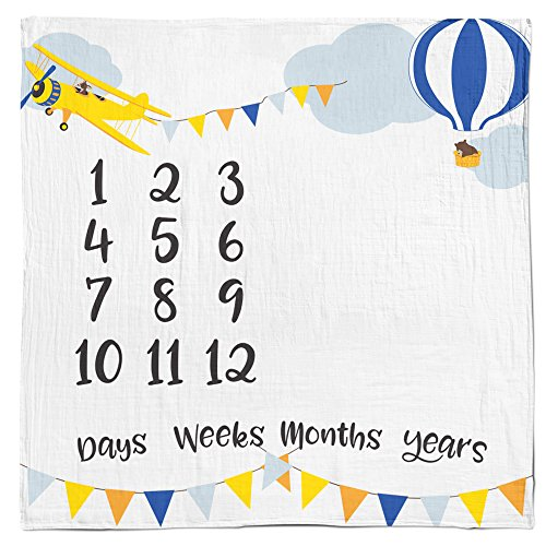 Baby Monthly Milestone Age Blanket - Boy + Girl. Baby Shower Gift Idea! First Days, Weeks, Months, Years. Large Photo Prop for Newborn, Infant, Or Toddler. Mom & Dad Keepsake. (Adventure Woodland)]()