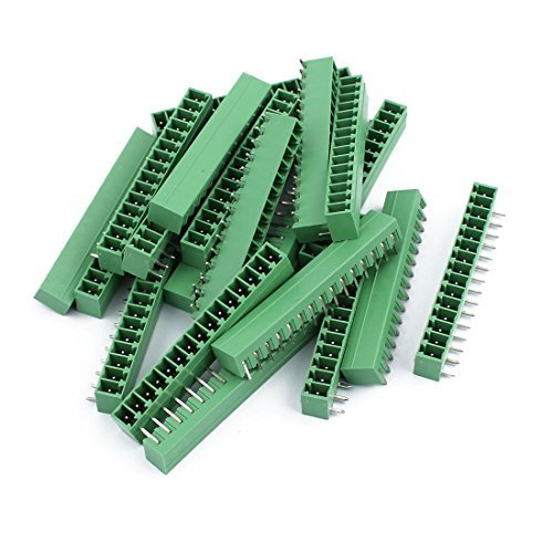 EbuyChX 20pcs AC300V 8A 2EDGR 3.81mm Pitch 15P Right Angle Needle Upuan Plug-in PCB Terminal Block Connector