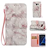 Cover Galaxy S7 Edge Marble Book Pink Beige, Misteem Colorful Fantasy Marble Pattern Soft Leather Credit Card Holder Wallet Shockproof Case Protective Shell for Samsung Galaxy S7 Edge