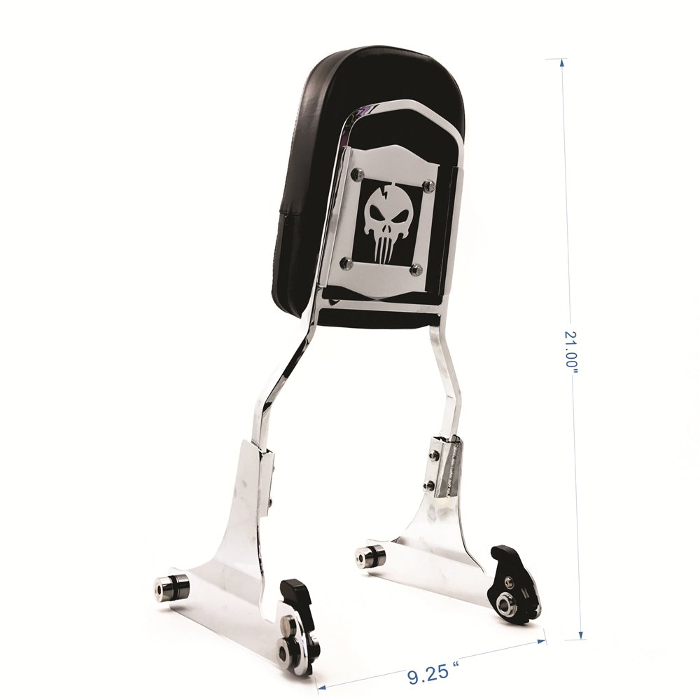XKMT Group Detachable Backrest Sissy Bar Chrome Skull For 84-99 Harley Softail FXSTC FLSTC